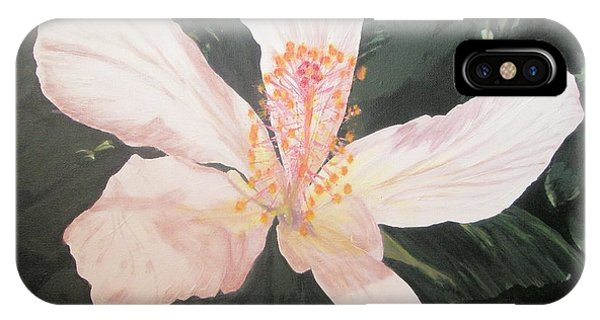 White Hibiscus In Acrylic IPhone Case