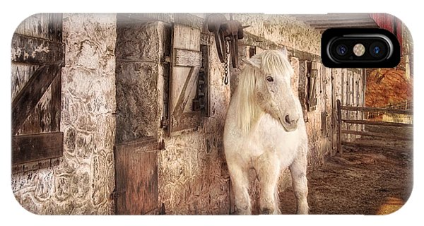 White Horse By An Old Barn IPhone Case