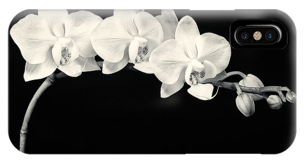 White Orchids Monochrome IPhone Case