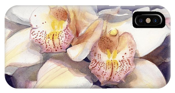White Orchids Watercolor IPhone Case