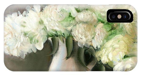 White Peonies IPhone Case