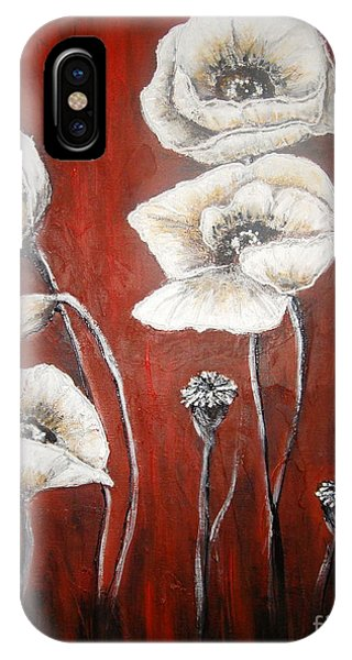 White Poppies IPhone Case