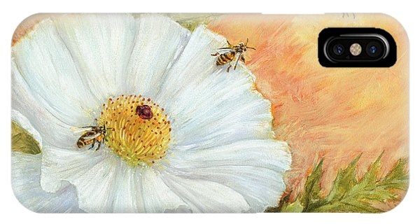 White Poppy And Bees IPhone Case