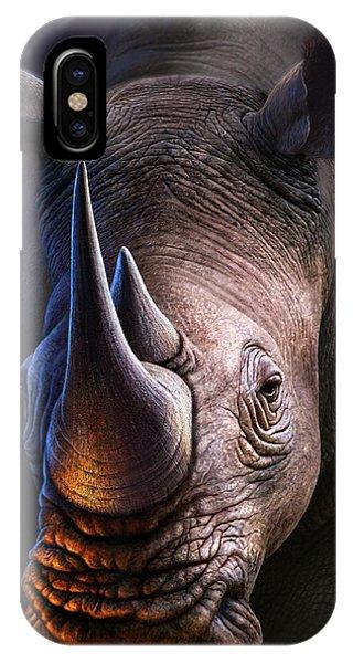 Horn iPhone Case - White Rhino by Jerry LoFaro