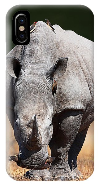 Angle iPhone X Case - White Rhinoceros  Front View by Johan Swanepoel
