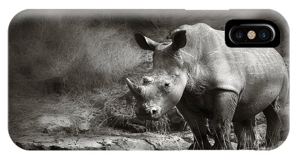Monochrome iPhone Case - White Rhinoceros by Johan Swanepoel