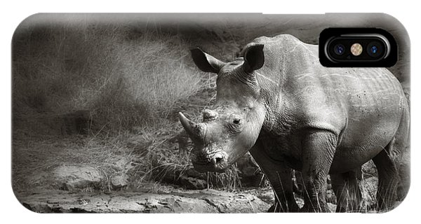 Monochrome iPhone Case - White Rhinoceros by Johan Swanepoel