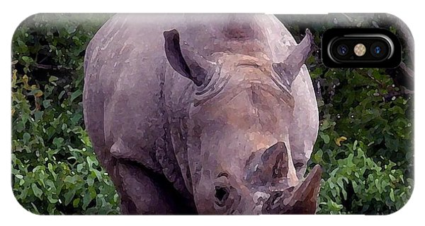 White Rhinoceros Water Coloring IPhone Case