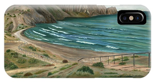 IPhone Case featuring the painting White Rock's Beach by Angeles M Pomata