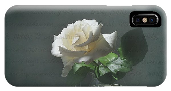 White Rose Still Life IPhone Case