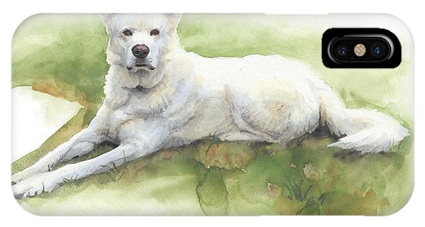 White Sled Dog Lying On Grass Watercolor Portrait Phone Case by Mike Theuer