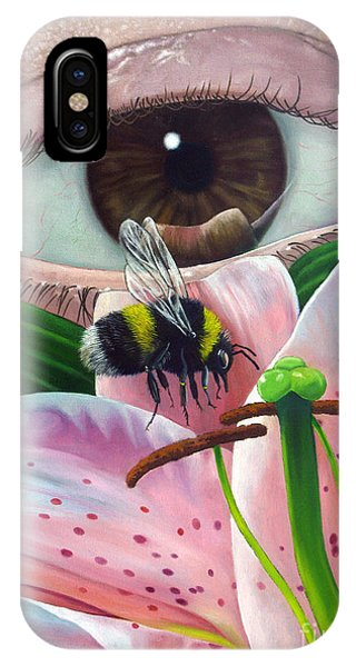 White Tailed Bumble Bee Upon Lily Flower IPhone Case