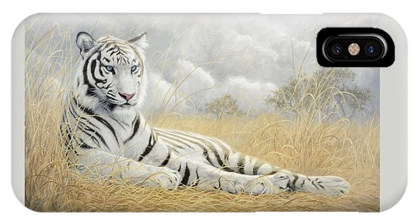 Tiger iPhone Case - White Tiger by Lucie Bilodeau