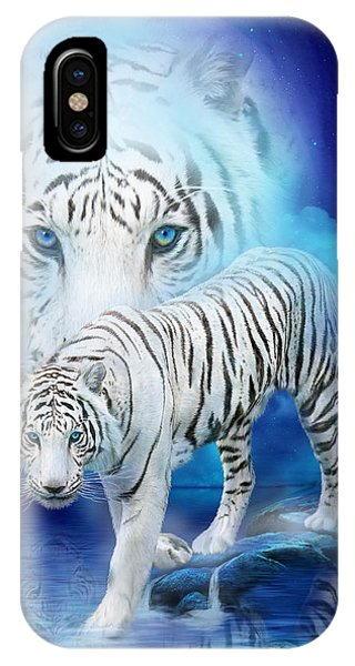 Moon iPhone Case - White Tiger Moon by Carol Cavalaris