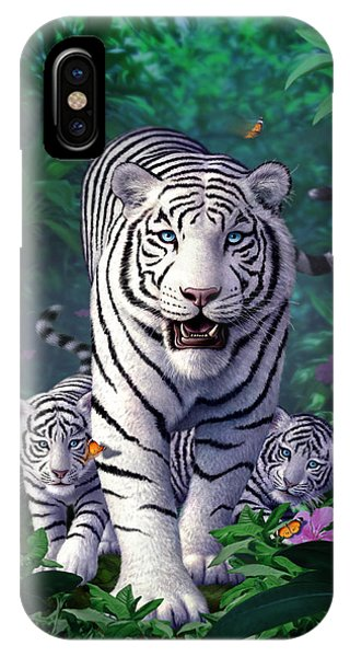 Jungle iPhone Case - White Tigers by Jerry LoFaro