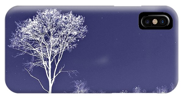 White Tree - Blue Sky - Silver Stars IPhone Case
