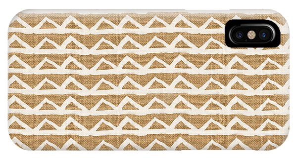 Triangles iPhone Case - White Triangles On Burlap by Linda Woods