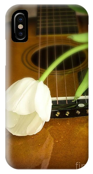 White Tulip iPhone Case - White Tulip Flower And Guitar by Edward Fielding