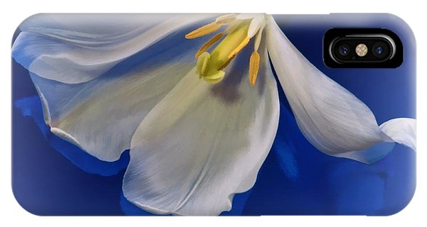 White Tulip On Blue IPhone Case