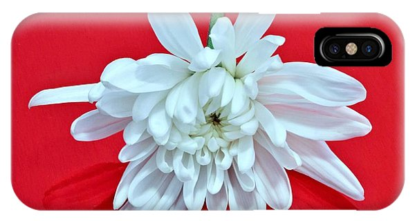 White Flower On Bright Red Background IPhone Case