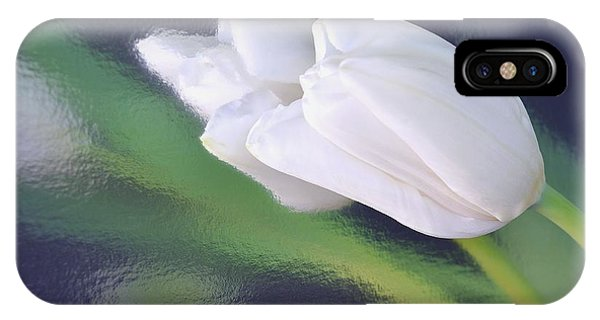 White Tulip Reflected In Dark Blue Water IPhone Case