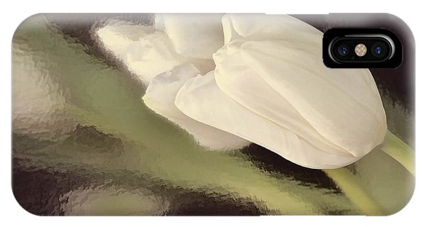 White Tulip Reflected In Misty Water IPhone Case