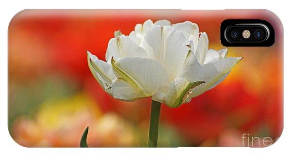 White Tulip Weisse Gefuellte Tulpe IPhone Case