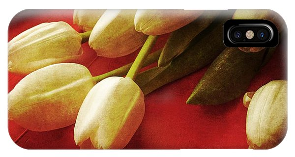 Valentine iPhone Case - White Tulips Over Red by Edward Fielding