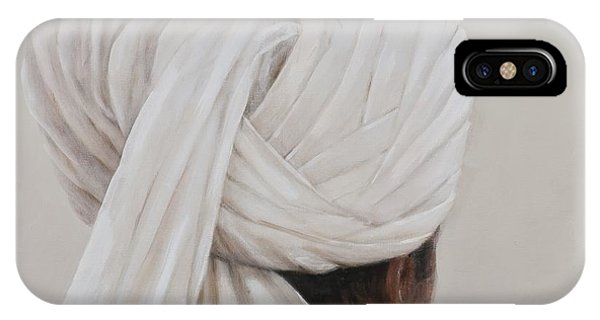 Head And Shoulders iPhone Case - White Turban, 2014 Oil On Canvas by Lincoln Seligman