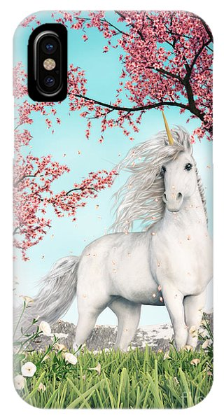 White Unicorn Amongst Cherry Trees IPhone Case