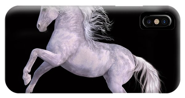 White Unicorn Black Background Half Rear IPhone Case
