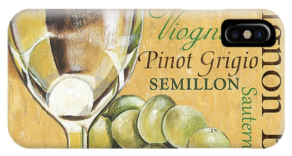 iPhone Case - White Wine Text by Debbie DeWitt