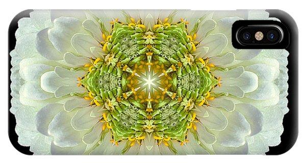 White Zinnia Elegans V Flower Mandala IPhone Case
