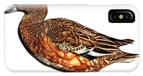 IPhone Case featuring the mixed media Wigeon Art - 7415 - Wb by James Ahn