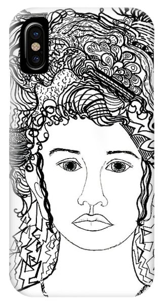 Wild Hair Portrait In Shapes And Lines IPhone Case