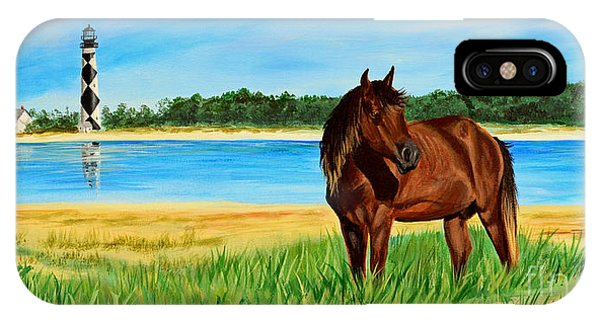Wild Horse Near Cape Lookout Lighthouse IPhone Case