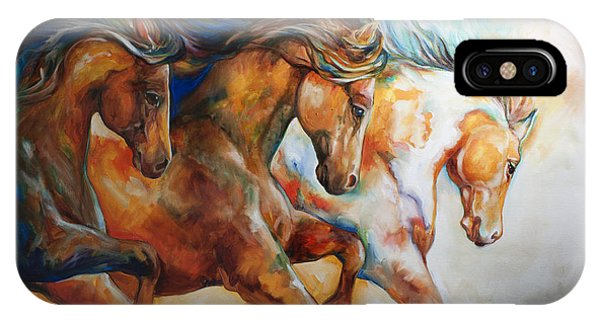 Equine iPhone Case - Wild Trio Run by Marcia Baldwin
