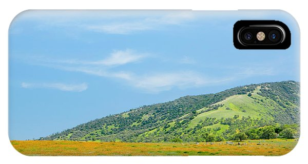 Afternoon Delight - Wildflowers And Cirrus Clouds - Spring In Central California IPhone Case