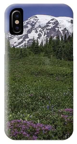 Wildflowers And Mt Rainier Summit IPhone Case