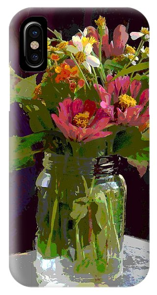 IPhone Case featuring the painting Wildflowers And Zinnias In A Jar  Contemporary Digital Art by G Linsenmayer