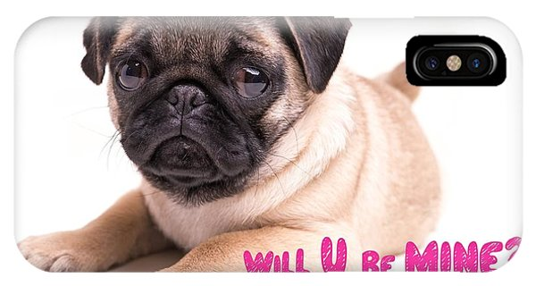 Pug iPhone X Case - Will U Be Mine? by Edward Fielding