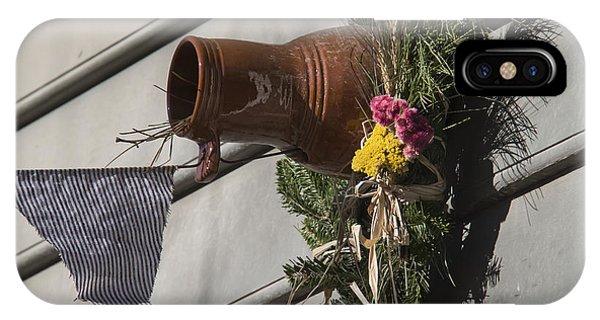Hand Thrown Pottery iPhone Case - Williamsburg Bird Bottle 1 by Teresa Mucha