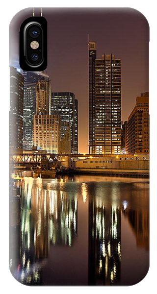 Willis Tower Reflection In Chicago River March 2014 Phone Case by Michael  Bennett