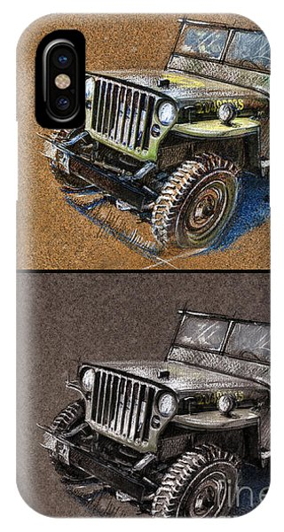Willys Jeep Mb Car Drawing IPhone Case