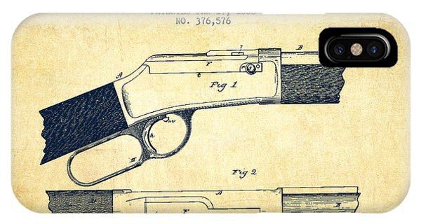 Weapons iPhone Case - Winchester Firearm Patent Drawing From 1888- Vintage by Aged Pixel