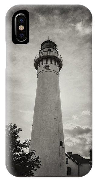 Navigation iPhone Case - Wind Point Lighthouse Silhouette In Black And White by Joan Carroll