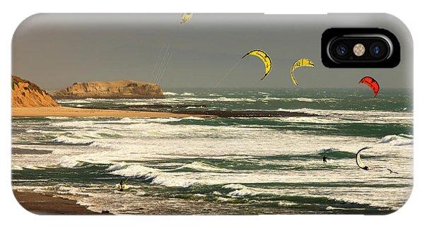 Santa Cruz Surfing iPhone Case - Wind Surfing Santa Cruz Coast by Tom Norring