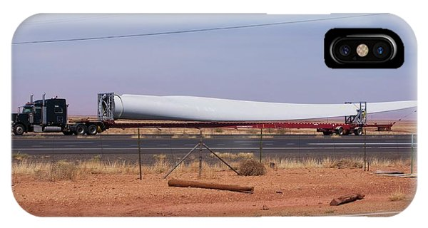 Trucking iPhone Case - Wind Turbine Blade On Low-loader Truck by Mark Williamson/science Photo Library