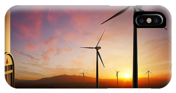 Rural Scenes iPhone Case - Wind Turbines At Sunset by Johan Swanepoel