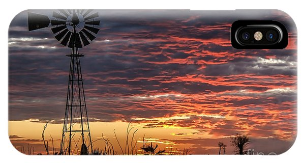 Windmill And The Sunset IPhone Case